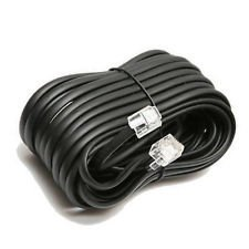 Permo 50 Feet Black Telephone Extension Cord Cable Line - 50' Cord Line Telephone