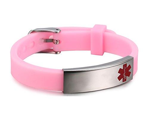 Men's Medical Alert ID Bracelet Tag Silicone Link Chain Wrist (Free Engraving),Pink (Light Link Heart Bracelet)