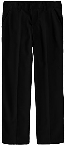 French Toast Boys' Adjustable Flat Front Double Knee Pant (Black, 12)