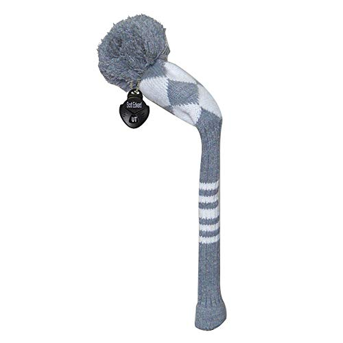 Scott Edward Knit Golf Hybrid/Utilities Headcover, 1 Piece, Grey White Argyle Style, Soft, Washable, Anti-Pilling, Anti-Wrinkle, Long Neck -