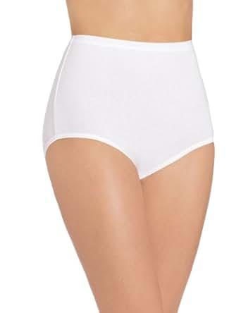 Bali Women's Stretch Brief Panty, White, 6