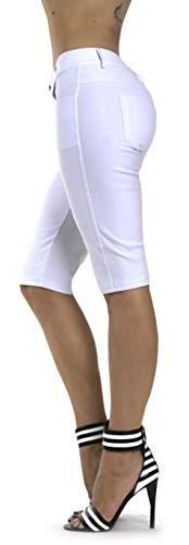 Prolific Health Women's Jean Look Jeggings Tights Slimming Many Colors Spandex Leggings Pants Capri S-XXXL (Large, White Bermuda)