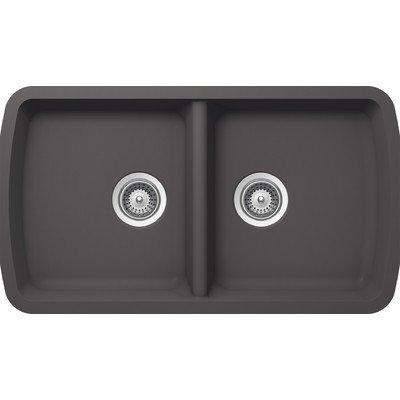 SCHOCK SOLN200U041 SOLIDO Series CRISTALITE 50/50 Undermount Double Bowl Kitchen Sink, Basalt