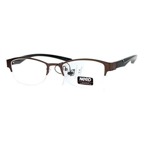 SA106 Nerd Half Rim Narrow Rectangular Clear Len Eye Glasses - Clear Nerd Guys Glasses