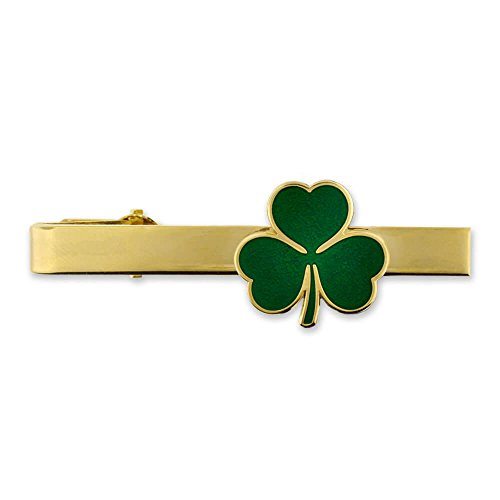 PinMart Gold St. Patrick's Day Shamrock Clover Tie Clip Tie Bar