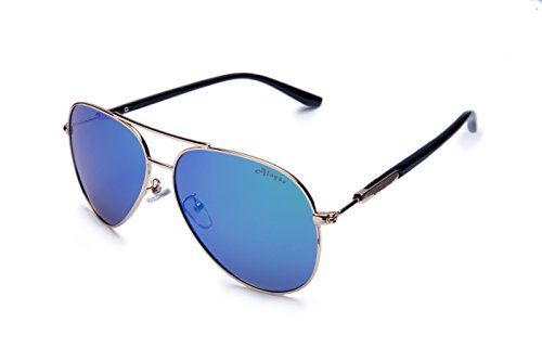Aloyse Polarized Aviator Metal Frame Sunglasses for Men Women Driving Fishing Cycling Outdoor Glasses - UV protection (Gold, - Sunglasses And Blue Green