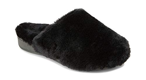 Vionic Women's Indulge Gemma Plush Slipper - Ladies Adjustable Slipper with Concealed Orthotic Arch Support Black 8 M US
