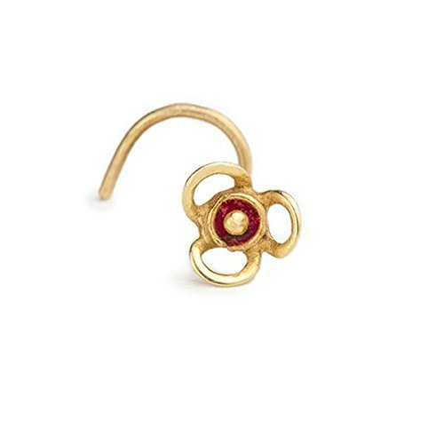 Flower Nose Stud: Gold 14Kt Handmade Nostril Jewelry w/ Red Enamel in 18 Gauge by Studio Meme