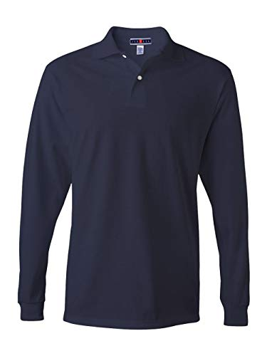 Jerzees Men's Jersey Long Sleeve Polo with Spotshield, J Navy, Large -