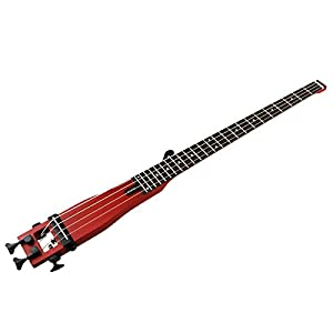 Anygig Bass Gitarre Akustik Gitarren Rot 4 Saiten 24 Bünden mit Schutztasche fuer Jazzmusik