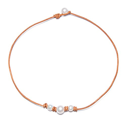 Bonnie Leather Choker Genuine Leather 3 White Pearls Cord Knotted Necklace Handmade Jewelry for Women (Brown (Leather Pearl Set)