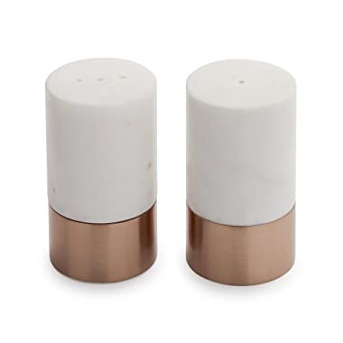 Sur La Table Rose Gold and Marble Salt and Pepper Shakers