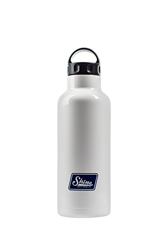 Water Bottle Stainless Steel Vacuum Insulated Wide Mouth by Shine Craft Vessels | Thermos Flask Keeps Water Stay Cold for 24 hours, Hot for 10 hours BPA Free ( Bright White ) - Vessel 750ML by Shine Craft Vessels