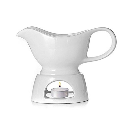 Gravy Boat Warmer (White) with Stand - 2 Piece Set for serving Warm Gravy, Sauces, Milk, Salad Dressings & More (Gravy Boat White)