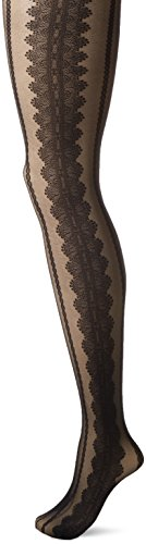 Hanes Silk Reflections Women's Standard Lace Sheer Tight, Black, M