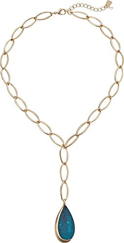 Robert Lee Morris Green Patina Link Lariat Necklace, Gold, One Size by Robert Lee Morris