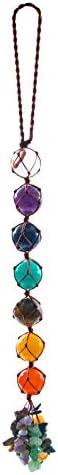 Tabpole 7 Chakra Edelstenen met Kwastje Pak Opknoping Ornament Dowsing voor Yoga Bescherming Thuis