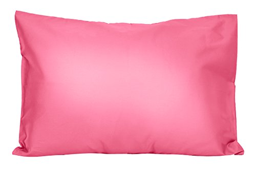 2 Hot Pink Toddler Pillowcases – Envelope Style – for Pillows Sized 13×18 and 14×19-100% Cotton with Soft Sateen Weave…
