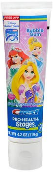 (Crest Pro-Health Stages Anticavity Fluoride Toothpaste Disney Princesses Bubble Gum - 4.2 oz, Pack of 2)