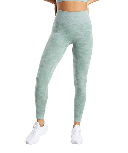 MIMIO Yoga Pants for Women Seamless Camo High Waisted Gym Sport Running Workout Leggings (Green, Large)