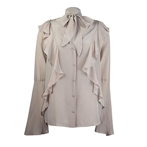 Gold Hawk Womens Romantic Self Tie Silk Ruffle Shirt Nude Crystal Extra Small