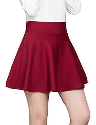 Amalxl Women's Basic Versatile Stretchy High Waist Flared Mini Skater Skirt