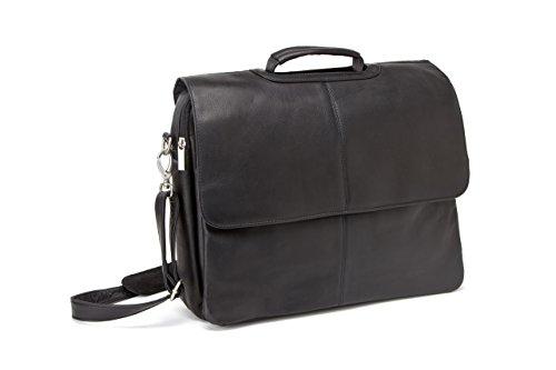 - Le Donne Vaqueta Flap Over Computer Briefcase, Leather Laptop Case in Black