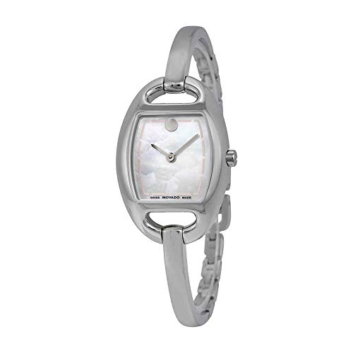 - Movado Museum Mother of Pearl Dial Stainless Steel Bangle Ladies Watch 0606606