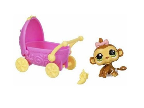 Littlest Pet Shop Girl Monkey with Carriage 216 Hasbro