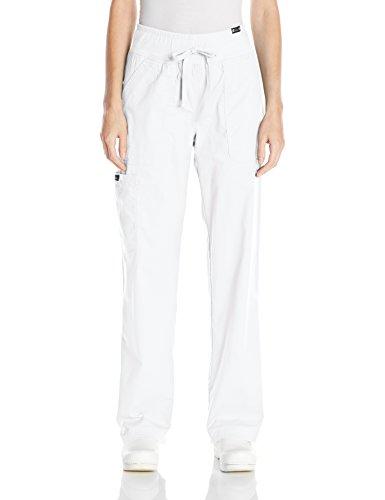 Koi Women's Morgan Ultra Comfy Yoga-Style Cargo Scrub Pants with Rib-Knit Waist, White, Small