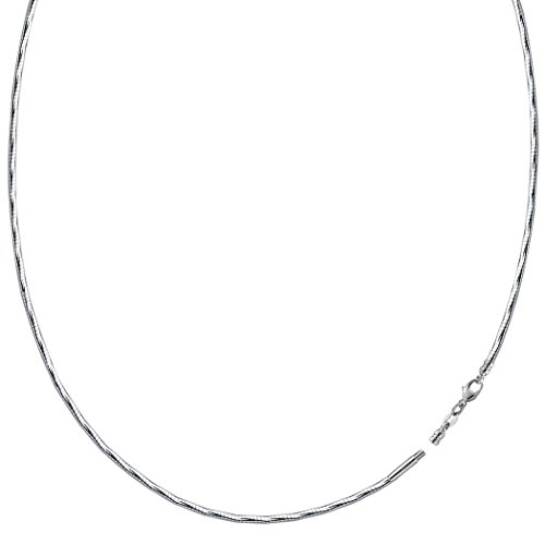 Diamond Cut Omega Chain Necklace With Screw Off Lock In 14k White Gold, 16
