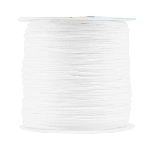 Mandala Crafts 0.8mm 100M Satin Nylon Chinese Knot Rattail Macramé Beading Knotting Sewing Cord (White) (Silk Beading Satin)