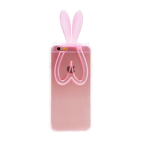 "BACK CASE 3D BUNNY OHREN pink für Apple iPhone 6 4,7"" Apple iPhone 6S Hülle Cover Case Schutzhülle Tasche Teddy"