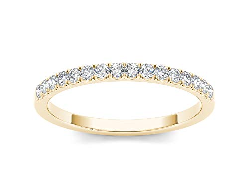 (IGI Certified 14Kt Yellow Gold 1/5ct TDW Diamond Wedding Band (I-J,)