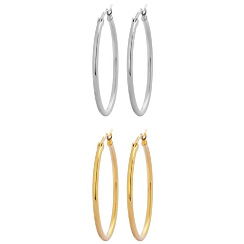 Fade Hoops - Edforce Stainless Steel and 18k Gold Plated Rounded Hoops Earrings, Set of 2 (30mm Diameter)