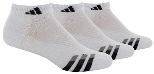 adidas Mens Cushioned Low Cut Socks (3-Pair), White/Black/Granite/Light Onix, XL, (Shoe Size 12-16)