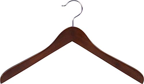 Concave Wooden Top Hanger with Walnut Finish, Thick Curved Coat Hangers with Chrome Swivel Hook for Jackets or Fine Shirts (Set of 12) by The Great American Hanger Company