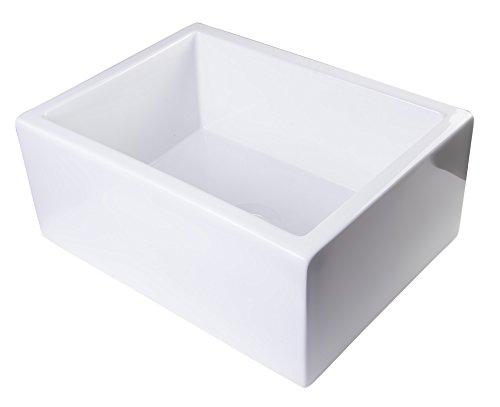 ALFI brand AB2418SB-W Smooth Thick Wall Fireclay Single Bowl Farm Sink, 24