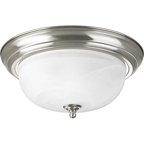 - Progress Lighting P3925-09 Two Light Flush Mount, Brushed Nickel Finish with Etched Alabaster Glass