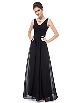 Ever-Pretty Double V-Neck Elegant Ruched Waist Ladies Long Evening Dress 08110