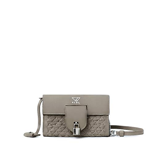 DOMINICA taupe italian leather clutch wallet-style cross-body handbag with woven design silver hardware and monogram (Accented Clutch Handbag)