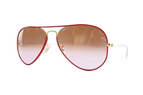 Ray-Ban AVIATOR FULL COLOR - ARISTA Frame PINK GRADIENT BROWN PHOTO Lenses 58mm - Ban Aviators With Ray Pink Lenses
