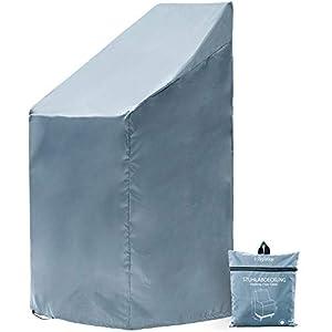 Chefarone Funda para sillas jardín – Funda impermeable para muebles de jardín – Fundas para sillas apilables – Tela funda gruesa para hasta 4 sillas – 67x67x110cm azul claro – Cordon cierre y funda