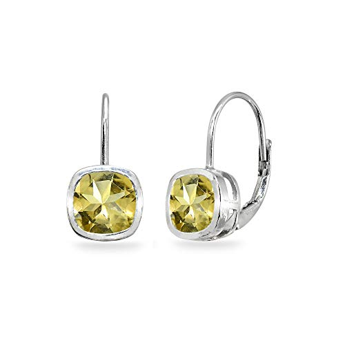 Sterling Silver Citrine 6x6mm Cushion-Cut Bezel-Set Dainty Leverback Earrings for Women Teen Girls