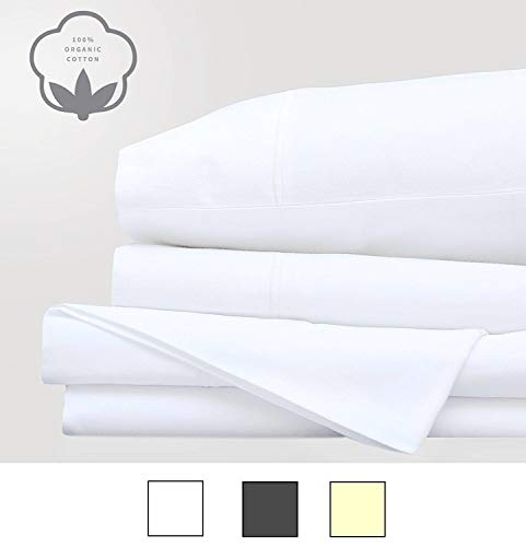 LINENWALAS Organic Cotton 300TC Full Sheets - Ultra Soft 300 Thread Counts Set of 4 Bed Sheets - Cool & Breathable Long Solid Sheet Set (Full, White) ()