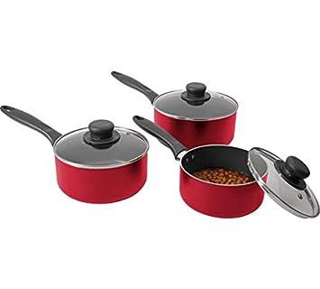 Home - Juego de sartenes de aluminio (3 piezas), color rojo: Amazon.es: Hogar