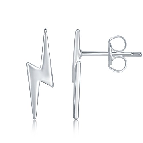 Sterling Silver Lighting Bolt - Sterling Silver Small Lightning Bolt Stud Earrings