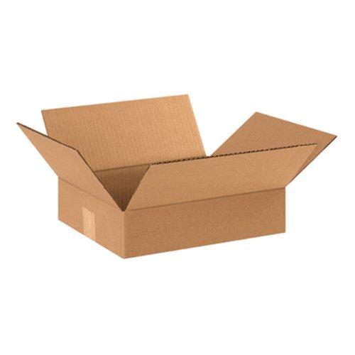 "Aviditi 12103 Flat Corrugated Box, 12"" Length x 10"" Width x 3"" Height, Kraft (Bundle of 25)"