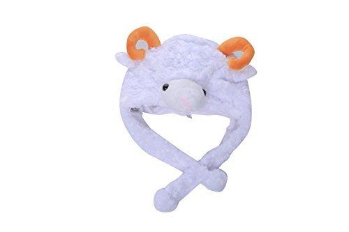 ganesha Animal Plush Earmuff Winter Warm Fluffy Cap 2 (White Sheep) -