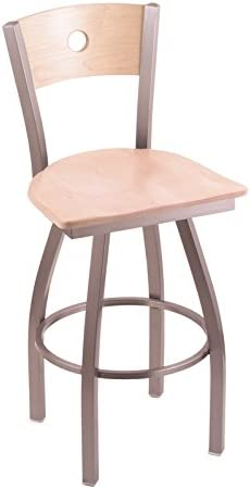 Holland Bar Stool Co. XL 830 Voltaire Stainless Swivel Tall Bar Stool with Natural Maple B Back, Natural Maple